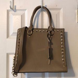 Handbags - Tan gold grommets square bag